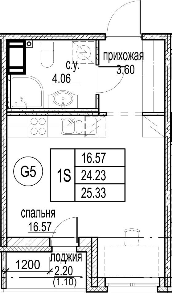 Студия, 25.33 м²– 2