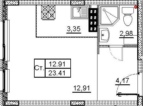 Студия, 23.41 м², 4 этаж