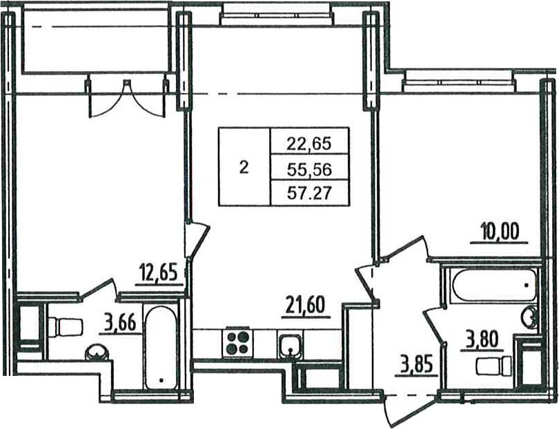 3Е-к.кв, 57.27 м², 12 этаж