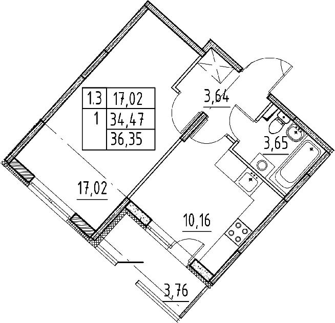 1-к.кв, 34.47 м², 1 этаж