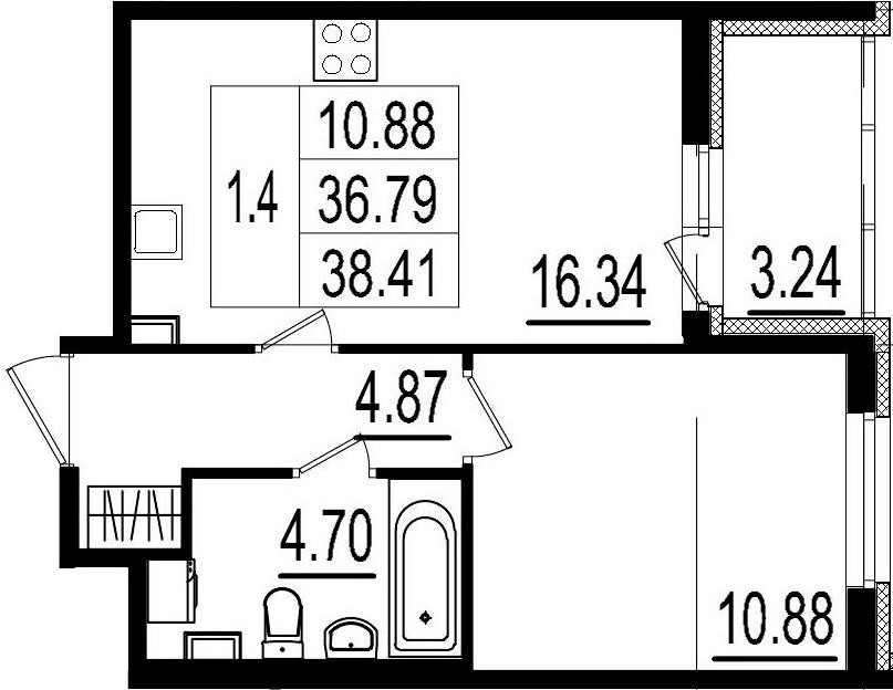 2Е-комнатная квартира, 36.79 м², 1 этаж – Планировка