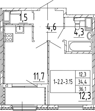 1-к.кв, 36.1 м², от 7 этажа