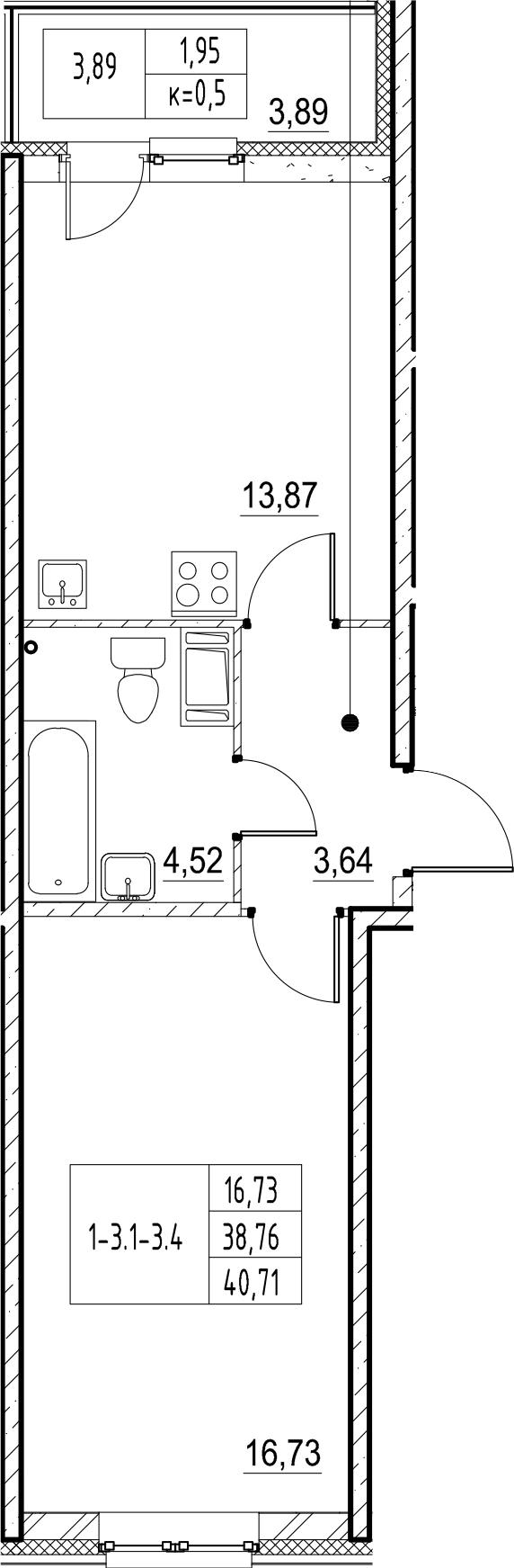 1-комнатная, 40.71 м²– 2