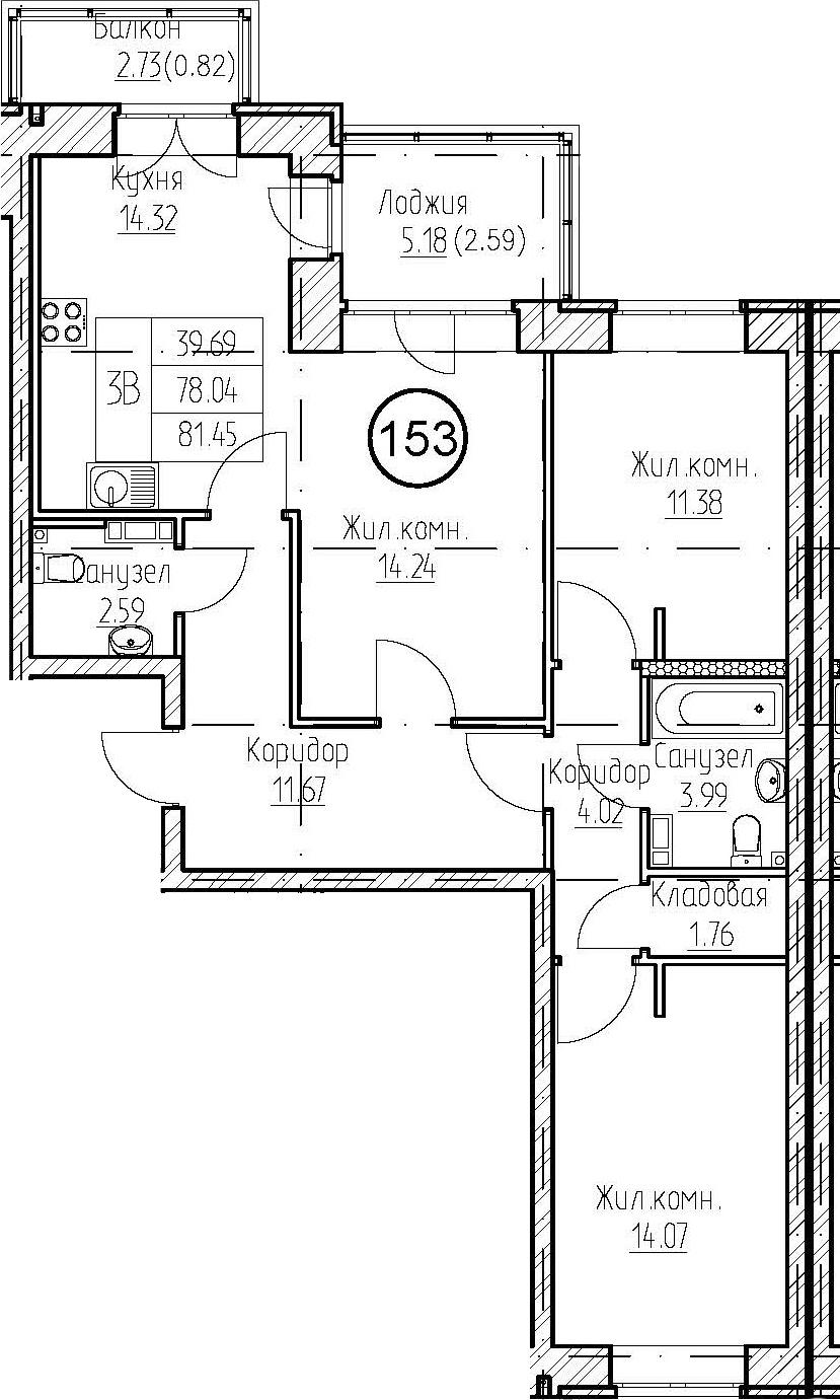 3-к.кв, 81.45 м², 2 этаж
