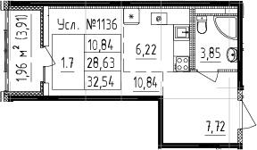 Студия, 28.63 м²