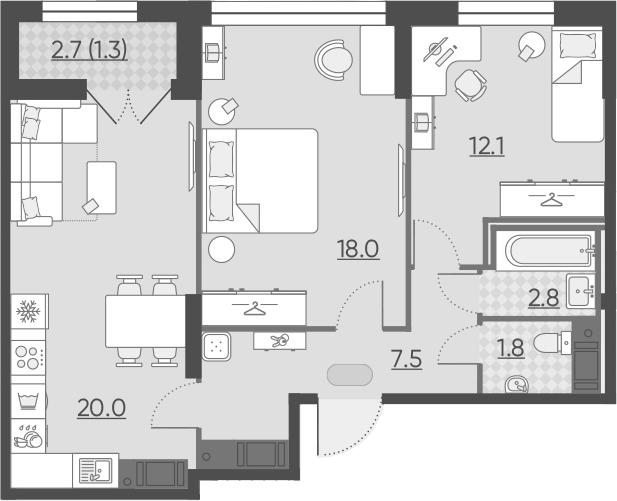 3Е-к.кв, 63.5 м², 12 этаж