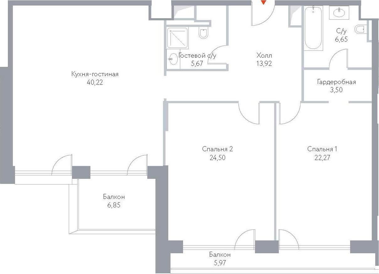 3Е-к.кв, 129.55 м², 15 этаж