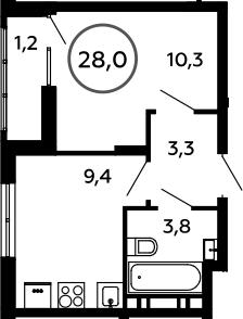 1-к.кв, 28 м²