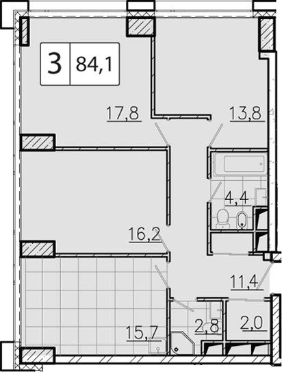 4-к.кв (евро), 84.6 м²