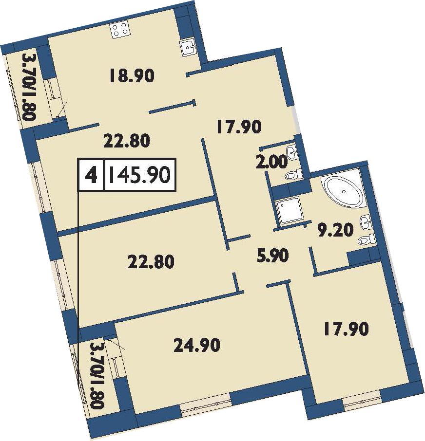 5-к.кв (евро), 149.5 м²