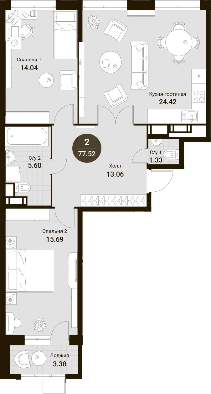 3Е-комнатная, 77.52 м²– 2