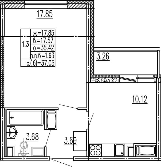 1-к.кв, 35.42 м², 2 этаж