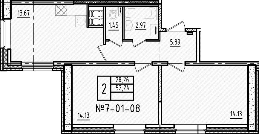 2-к.кв, 51.6 м², 1 этаж