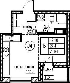 Студия, 25.94 м²– 2