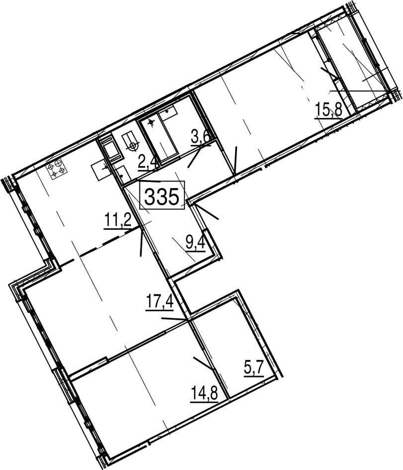 3-к.кв, 82.2 м², 11 этаж