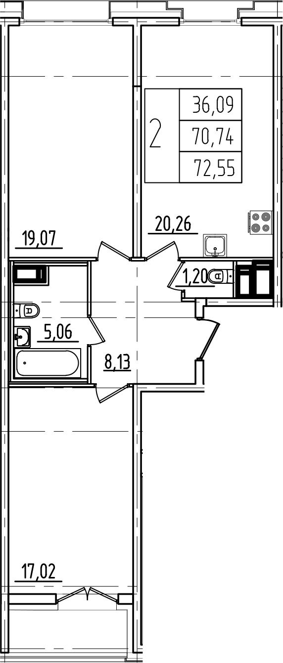 3Е-к.кв, 72.55 м²