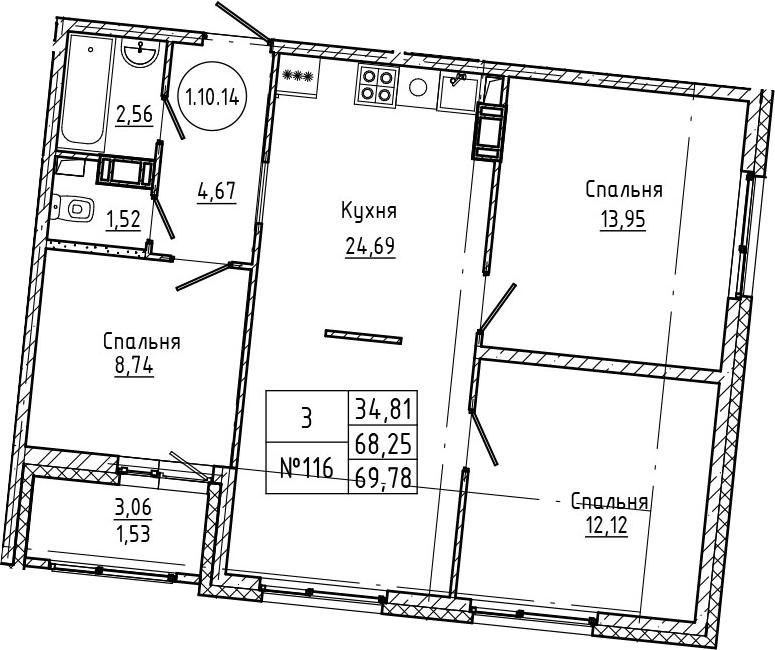 4Е-к.кв, 69.78 м², 10 этаж