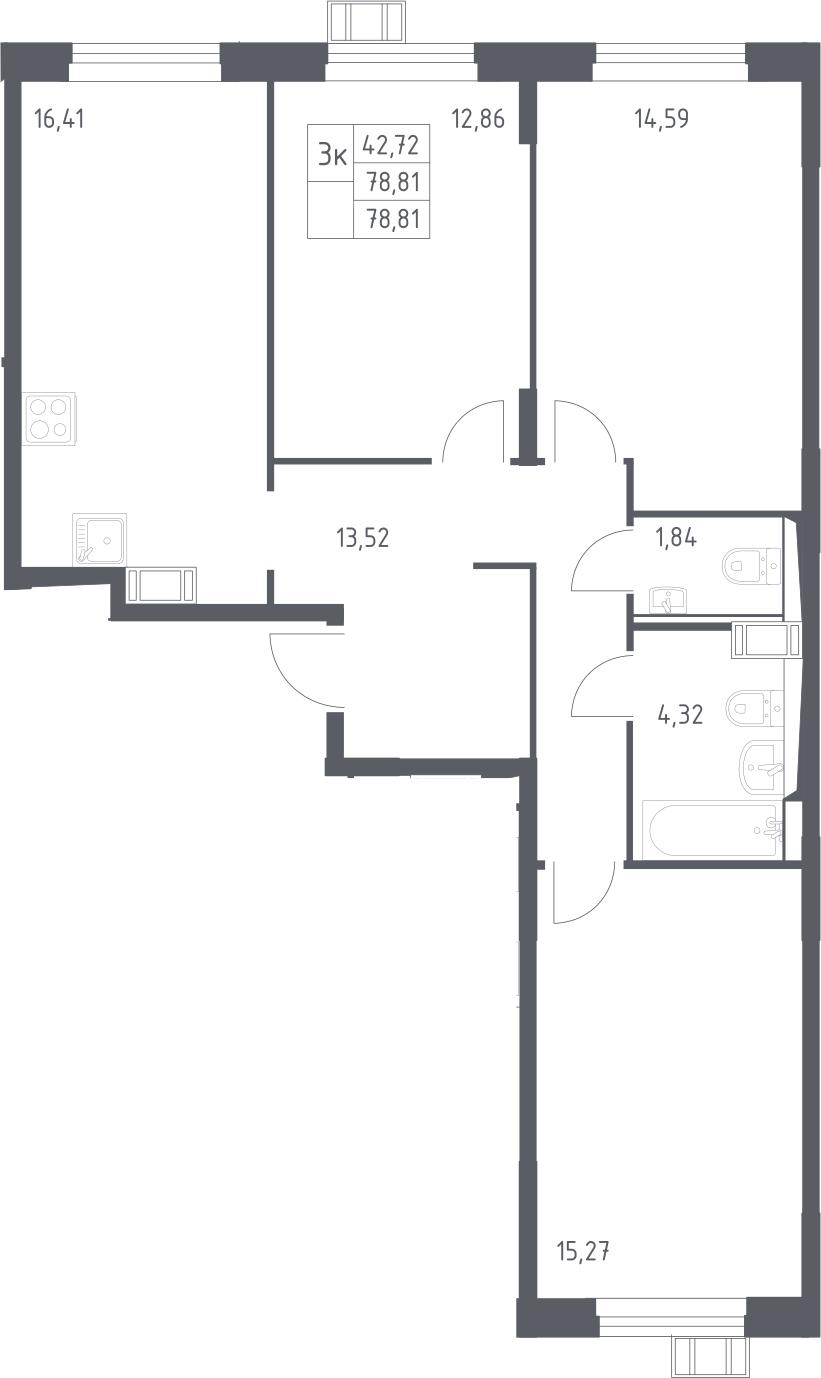 4Е-к.кв, 78.81 м², 17 этаж
