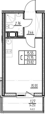 Студия, 21.75 м², 5 этаж