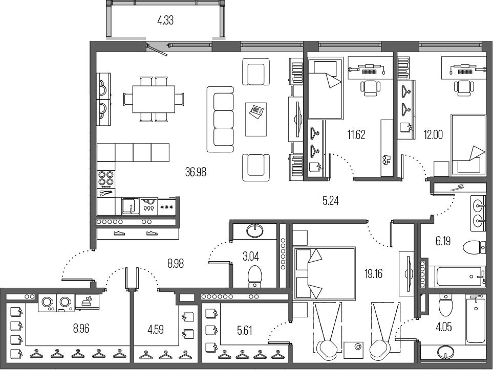 4Е-комнатная, 126.42 м²– 2