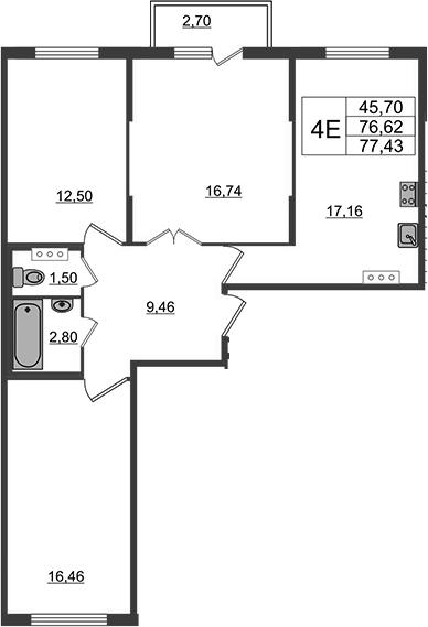 4-к.кв (евро), 79.32 м²