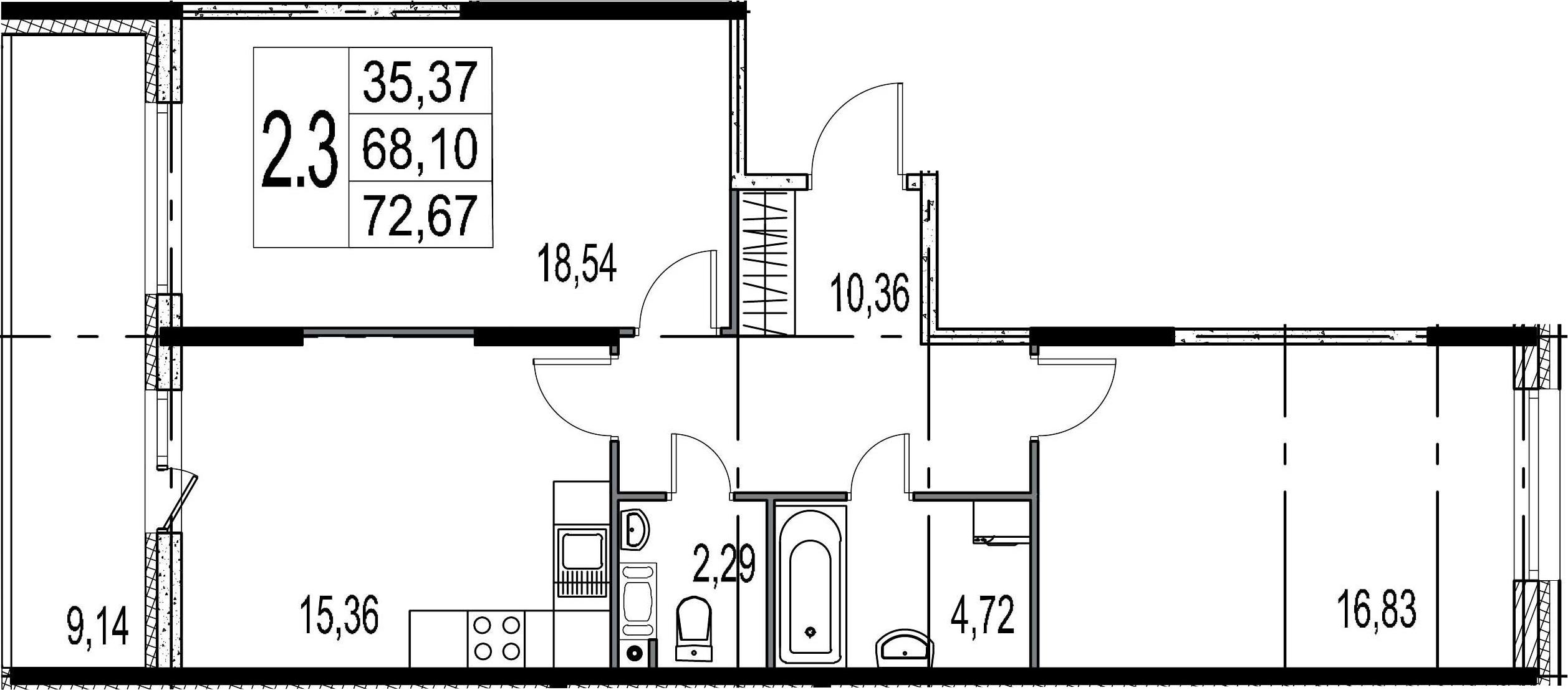2-к.кв, 77.24 м²