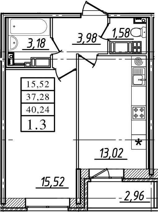 1-к.кв, 37.28 м²