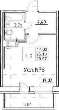 Студия, 25.13 м²