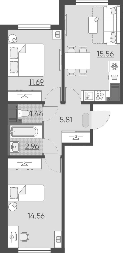 3Е-комнатная, 52.02 м²– 2