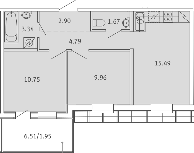 3Е-к.кв, 50.85 м²
