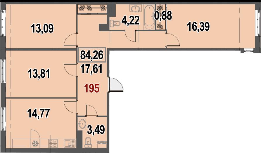 3-к.кв, 84.26 м²