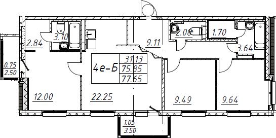 4Е-комнатная, 77.65 м²– 2
