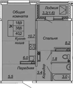 2Е-к.кв, 40.2 м², от 11 этажа