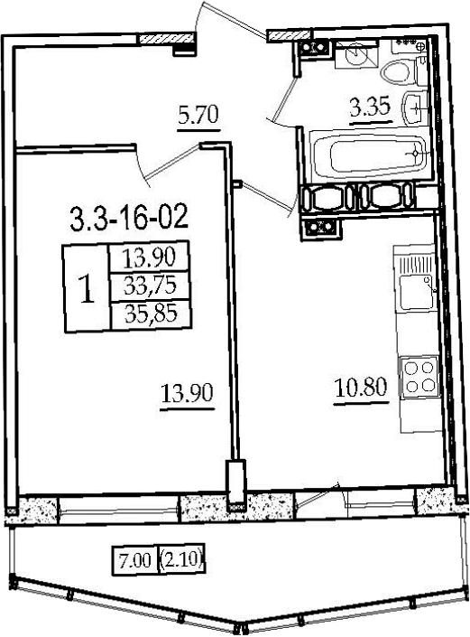 1-к.кв, 35.85 м², 16 этаж