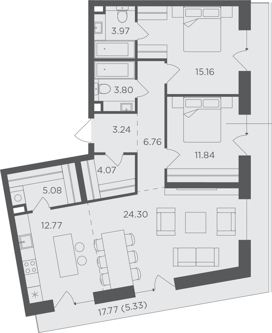 3-комнатная, 96.32 м²– 2
