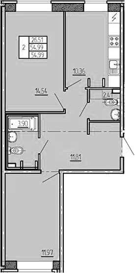 2-к.кв, 54.99 м²