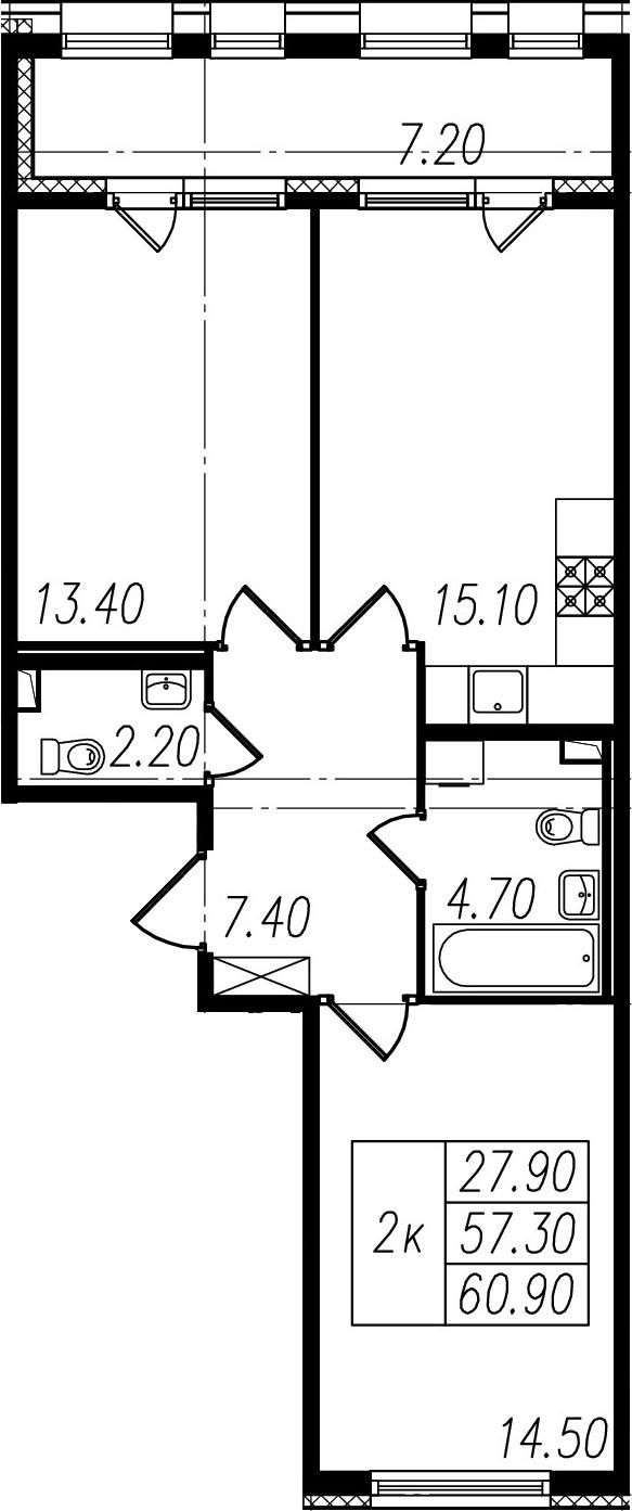 3-к.кв (евро), 64.5 м²