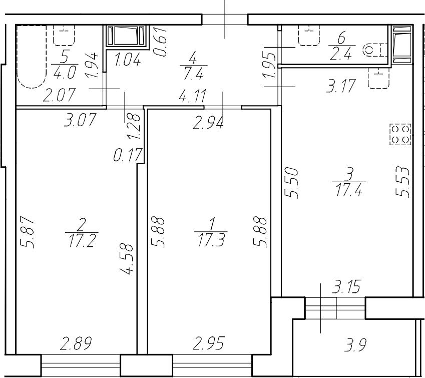 3Е-к.кв, 65.7 м²