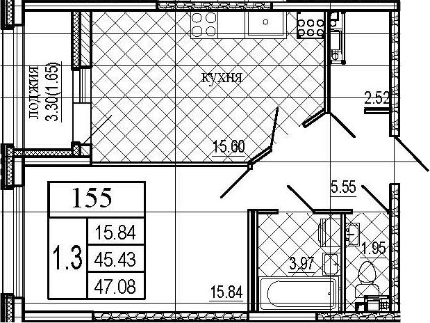 2Е-комнатная, 47.08 м²– 2