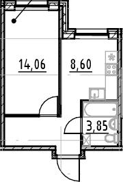 1-комнатная квартира, 33.45 м², 1 этаж – Планировка