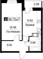 1-комнатная, 36.72 м²– 2