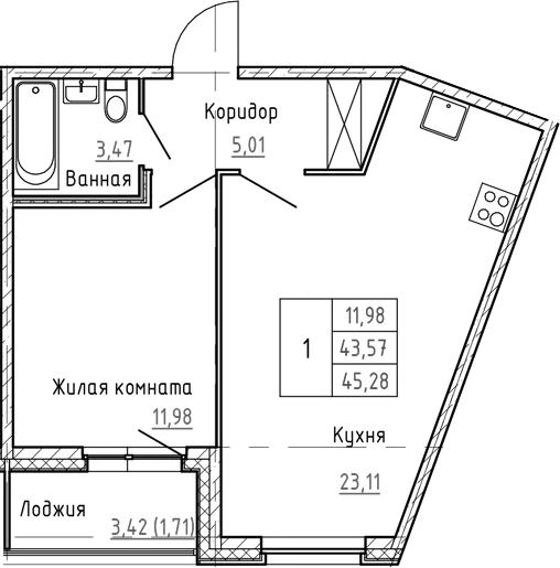 2Е-к.кв, 45.28 м², 1 этаж