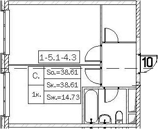 Своб. план., 38.61 м²