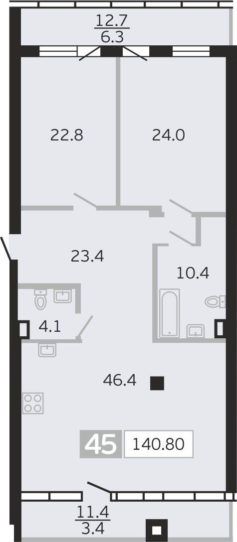 3Е-к.кв, 140.8 м²