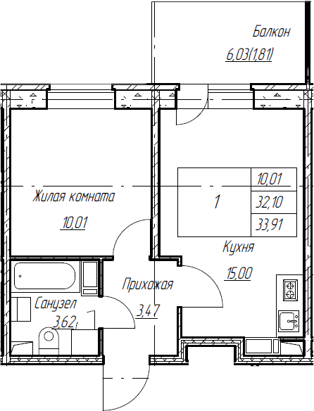 2Е-к.кв, 33.91 м², от 4 этажа