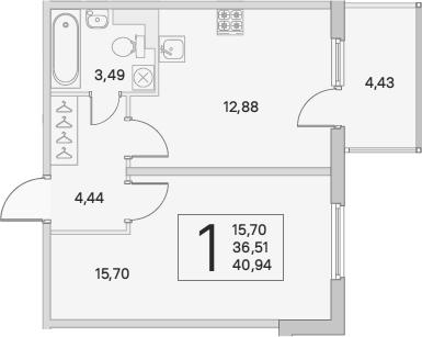 1-комнатная, 37.84 м²– 2