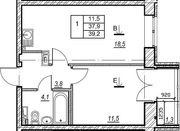 1-к.кв, 39.2 м², 3 этаж