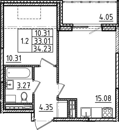 2Е-к.кв, 34.23 м²