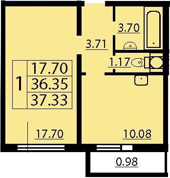 1-к.кв, 38.31 м²