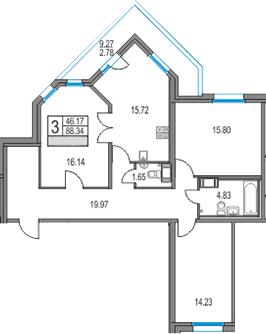 4Е-комнатная, 88.34 м²– 2